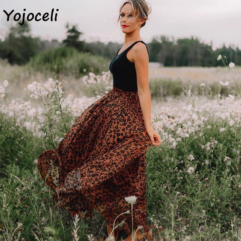 Yojoceli leopard chiffon skirt bottom women long skirt streetwear boho female skirt print skirt bottom 4