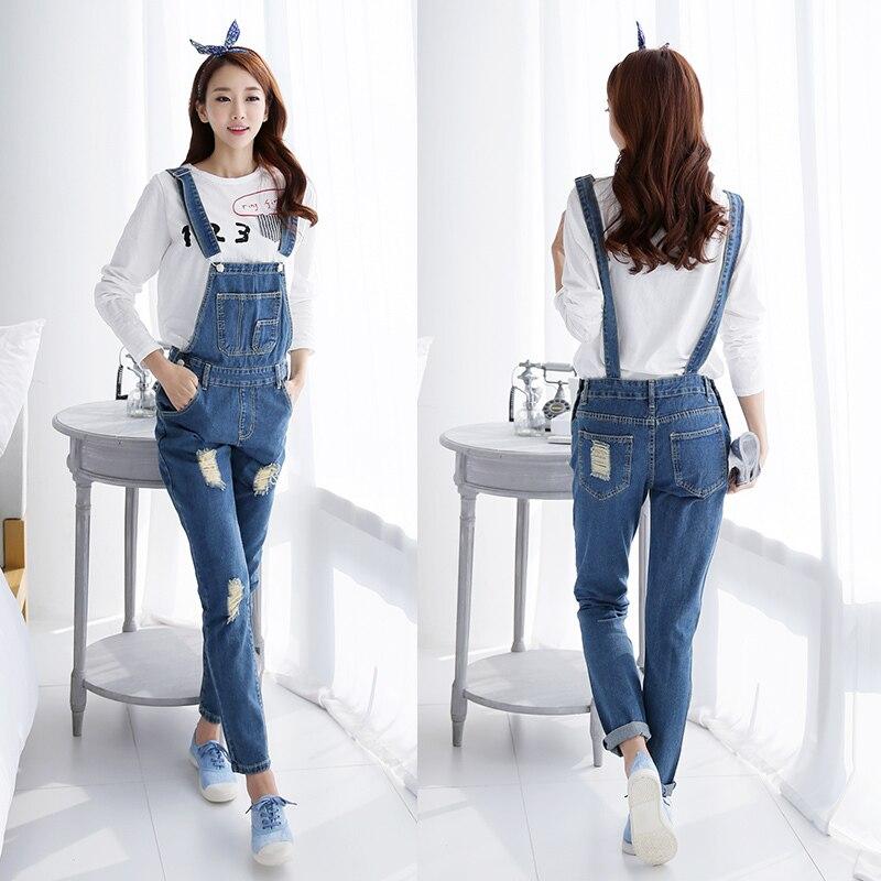 2019 Fall Fashion Brand Style Women Jeans Rompers Macacao Feminino Ripped Jumpsuit denim bib overalls women 3