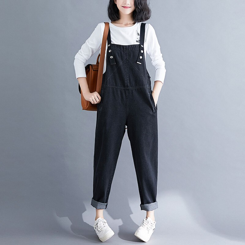 Spring Summer Women's Overalls Jeans New Large Size Black Denim Jumpsuit Loose Suspenders Jeans Casual Female Trousers Rompers 1