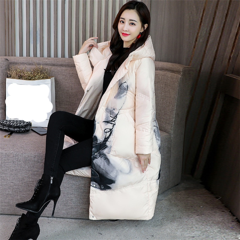 2020 New Winter Women Print Down jacket white duck down Loose Warm Chinese style down Coat Fashion Casual Hooded Parka W124 2