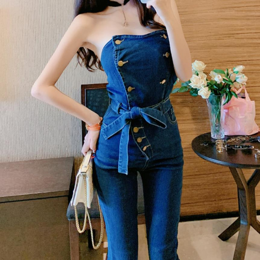 Off Shoulder Denim Jumpsuits Overalls Women Jeans Playsuit Strapless Pencil Pants Romper 3