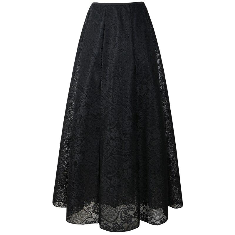 Neophil 2020 Vintage Ladies Floral Lace Mesh Women Long Skirts Muslim Maxi 100cm High Waist Pleated Print Boho Longa Saia MS1607 3