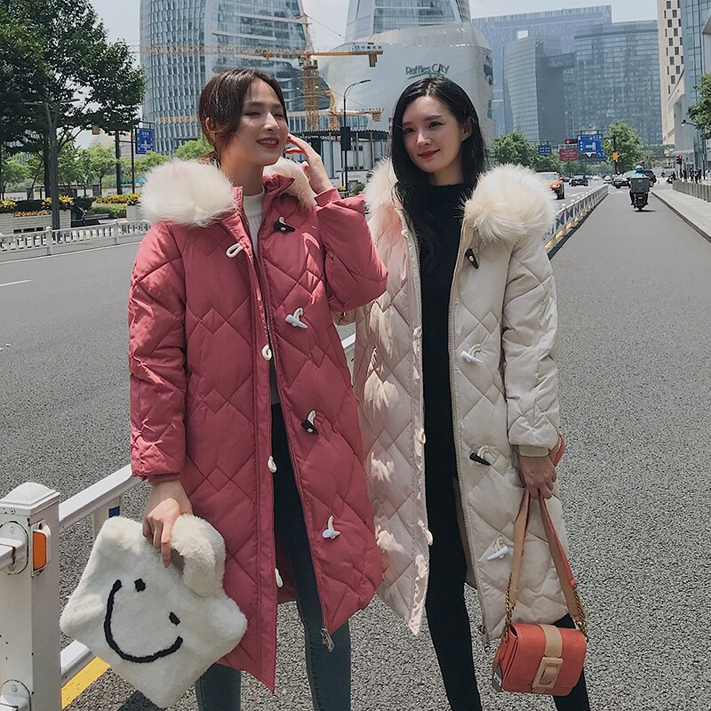 X-long Horn Button Women's Jacket Plus Size Solid Parkas Female Winter Hooded Loose Thick Cotton Padded Casual Outwear Coats 4