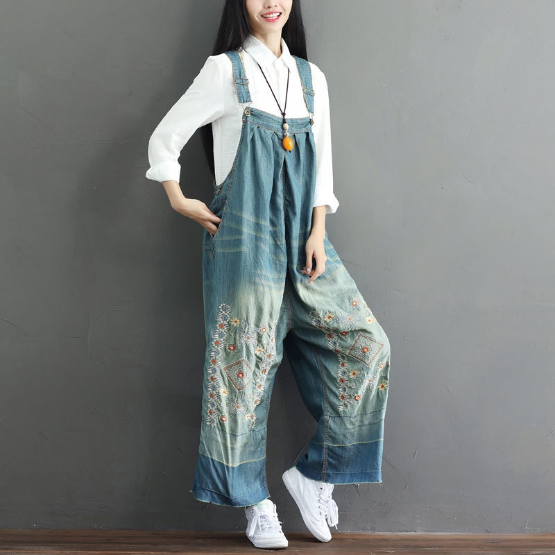 Women Suspender Jumpsuit Embroidery Denim Jeans Rompers Sleeveless Backless Vintage Baggy Dungarees Overalls Wide Leg Pants 2020 2