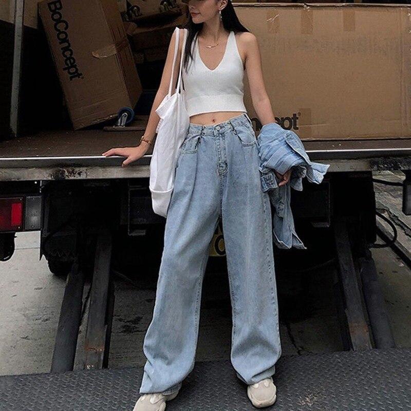Fashion Loose Womens Jeans Harajuku-Style High-Waist Jeans Korean-Style Wide-Leg Straight Jeans Women 1