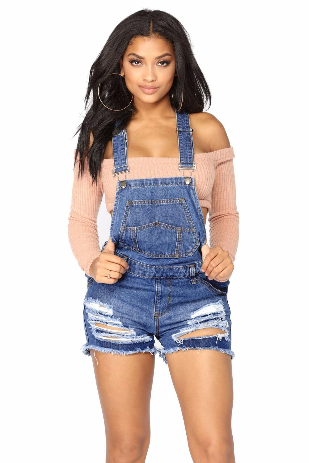 Women Summer Denim Bib Overalls Jeans Shorts Jumpsuits and Rompers Playsuit 1