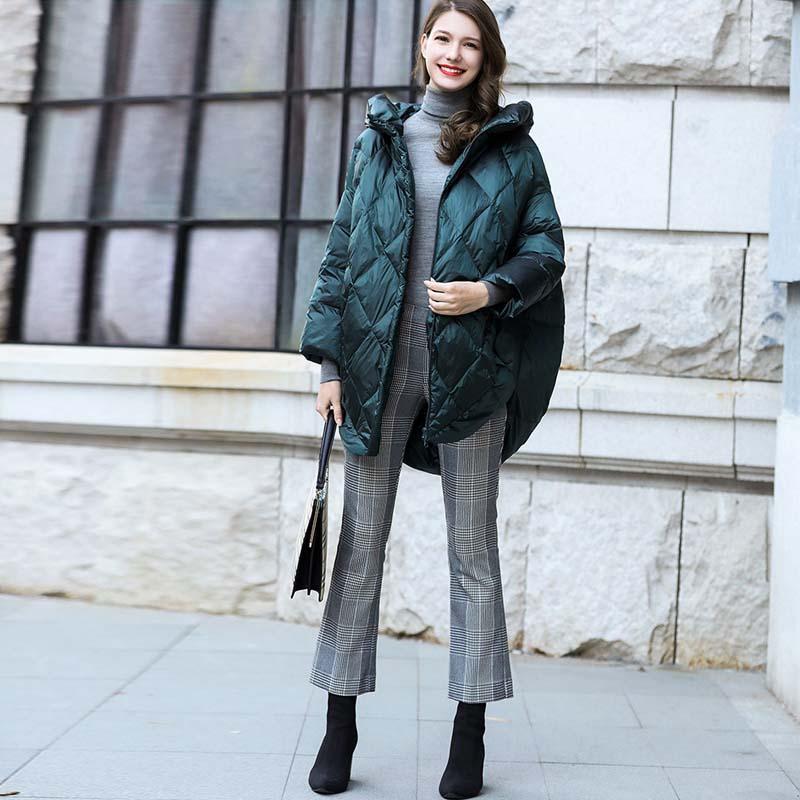 Solid Oversize Hooded Women down jacket 2019 Winter warm long down coat Green black loose fashion Overcoat Autumn YNZZU YO953 2