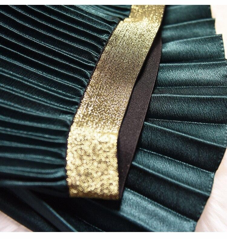 Qooth 2020 Winter Women Elegant Pleated Skirt Elastic Waist Women Long Skirt Female Autumn Ladies High Quality Midi Skirt Saia 4