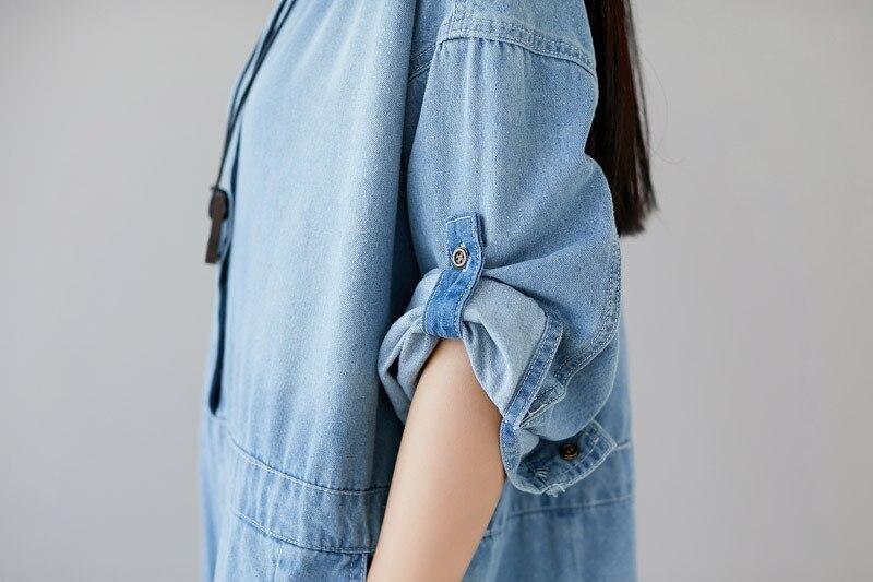 Plus Size Jeans Woman High Waist Long Sleeves Rompers Womens Jumpsuit Cotton Denim Overalls O-neck Print Loose Pantalon Femme 4