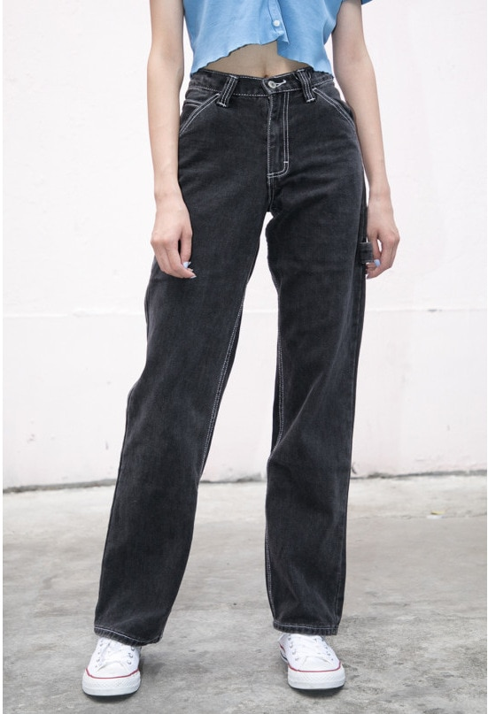 Jeans Women Loose Pants High Waist Pants Brandy Melville Women Straight Pipe Jeans Denim Pants Trousers Stretch Jeans Dropship 2