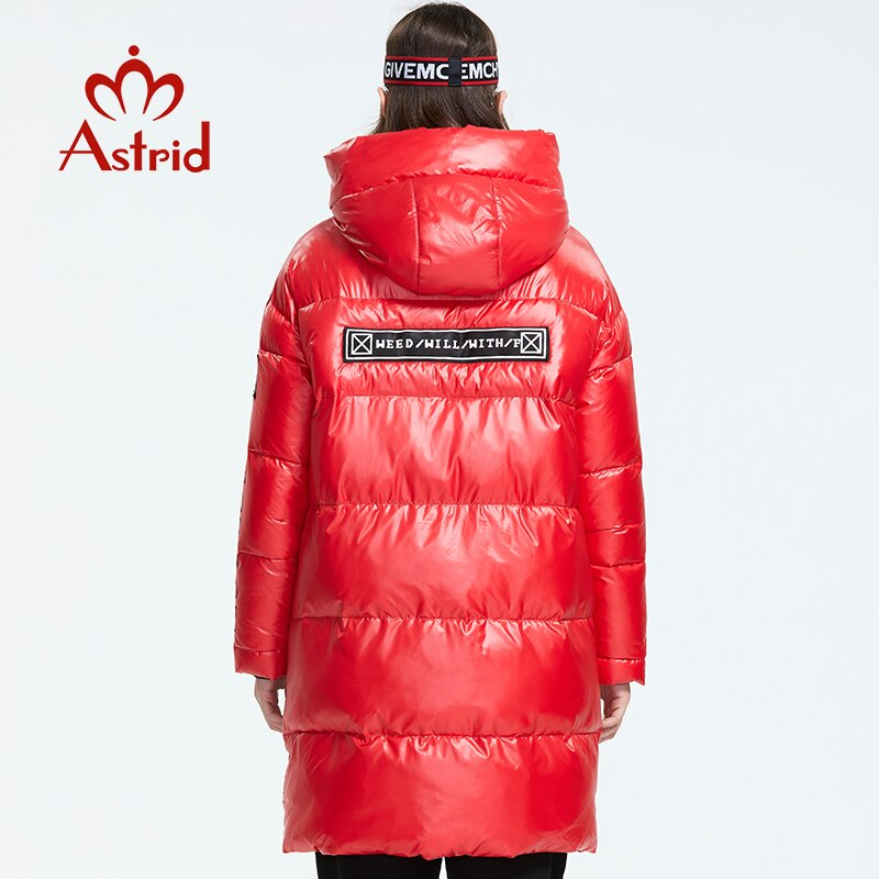 Astrid 2019 Winter new arrival women down jacket red top color with a hood down coat with zipper long winter coat women AR-3003 4