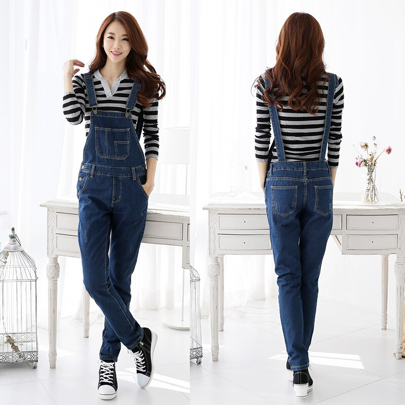 2019 Fall Fashion Brand Style Women Jeans Rompers Macacao Feminino Ripped Jumpsuit denim bib overalls women 2