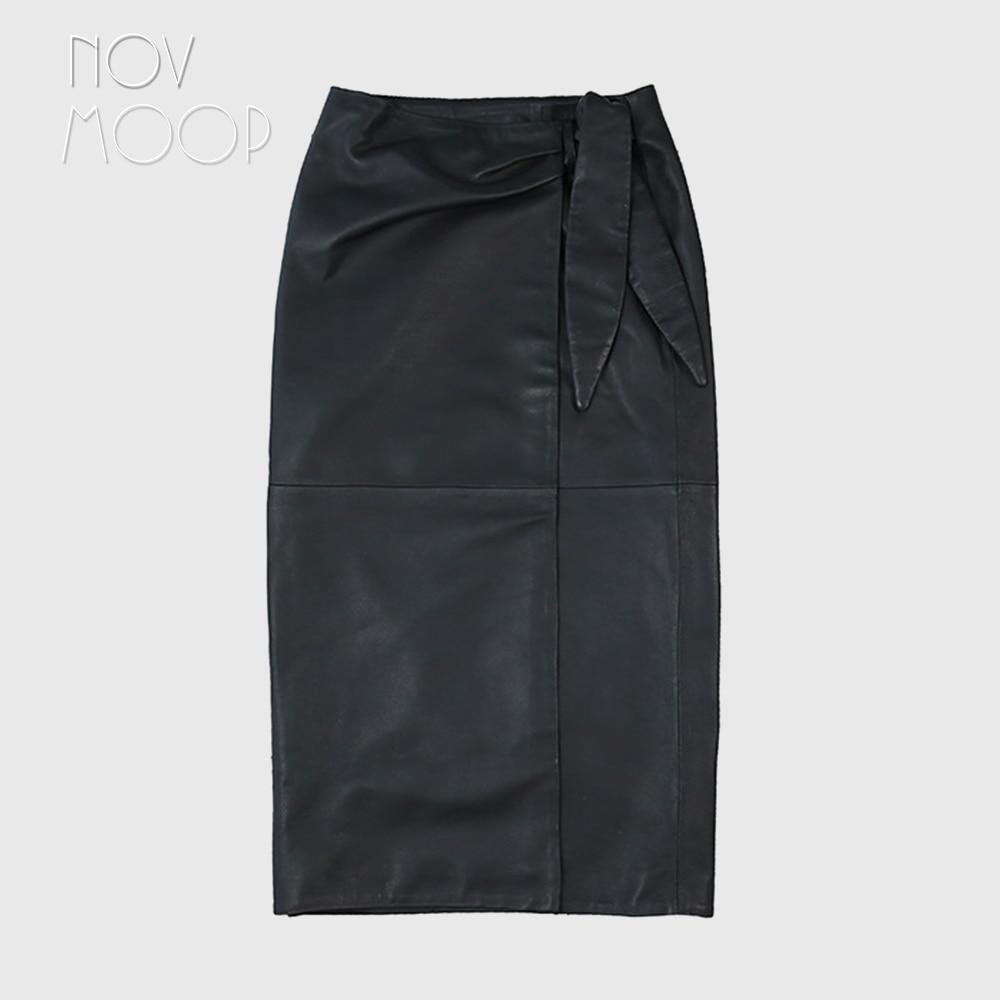 Novmoop casual style women spring high waist patchwork sheepskin genuine leather long skirt with bow decor spódniczka LT3066 4