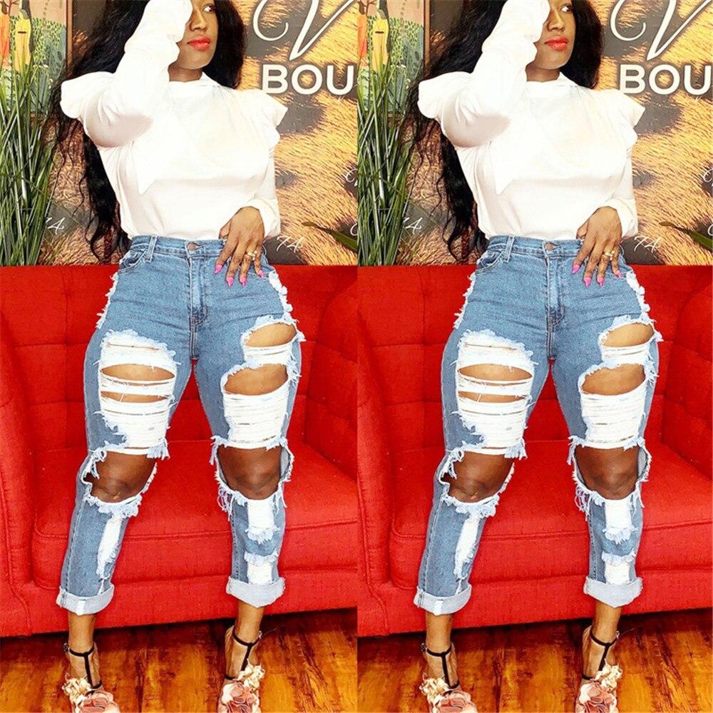 Women's high waist jeans hot sale women's ripped jeans fashion slim trousers women's straight jeans tassels women's casual jeans 1