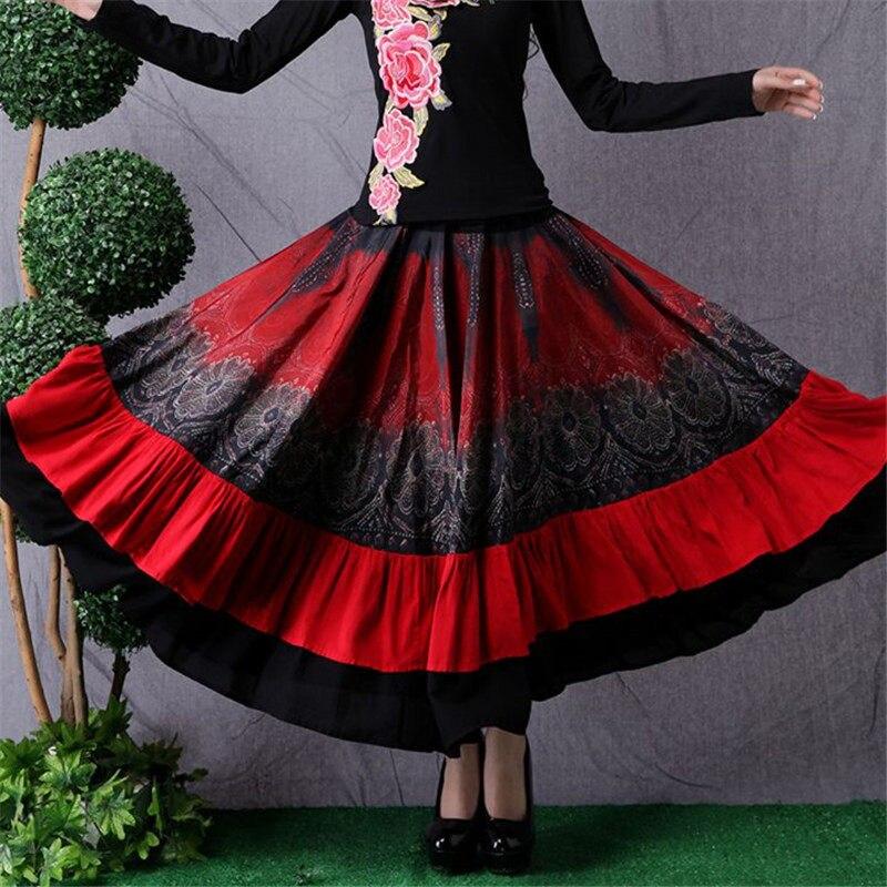 Ethnic Style Women's Long Skirt Stitching Fashion Elastic Waist Skirt Retro Large Size Dance Skirt Women Saia Mujer Faldas f2682 1