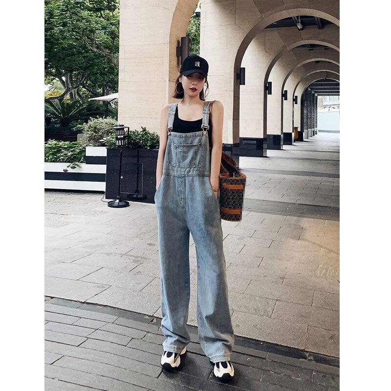 Denim Overall Women's 2020 New Summer Drape Wide Leg Jeans Korean-Style Loose Mopping Pants Women's Fashion