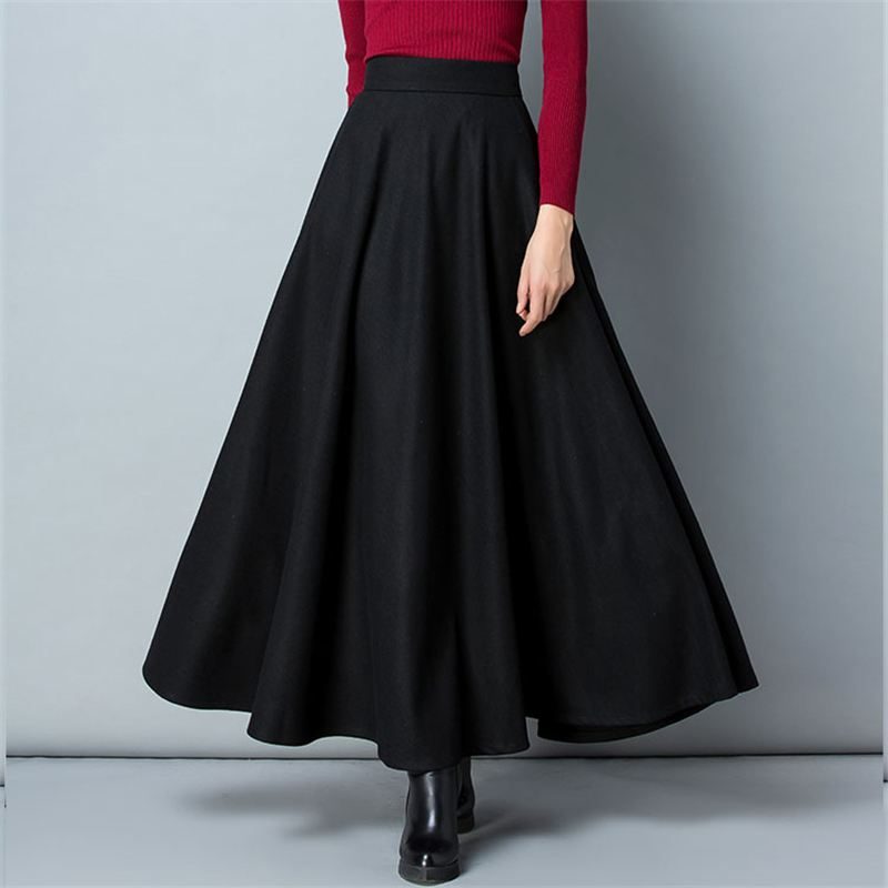 Winter Women Long Woolen Skirt Fashion High Waist Basic Wool Skirts Female Casual Thick Warm Elastic A-Line Maxi Skirts 2