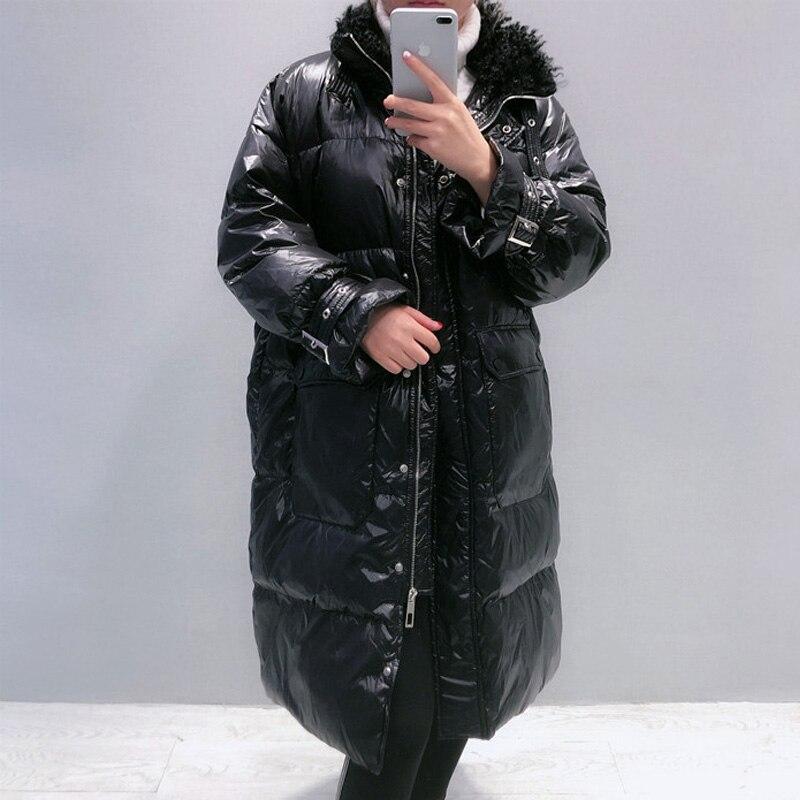 Winter Lengthy 90% White Duck Down Coat Feminine Thick Heat Parka
