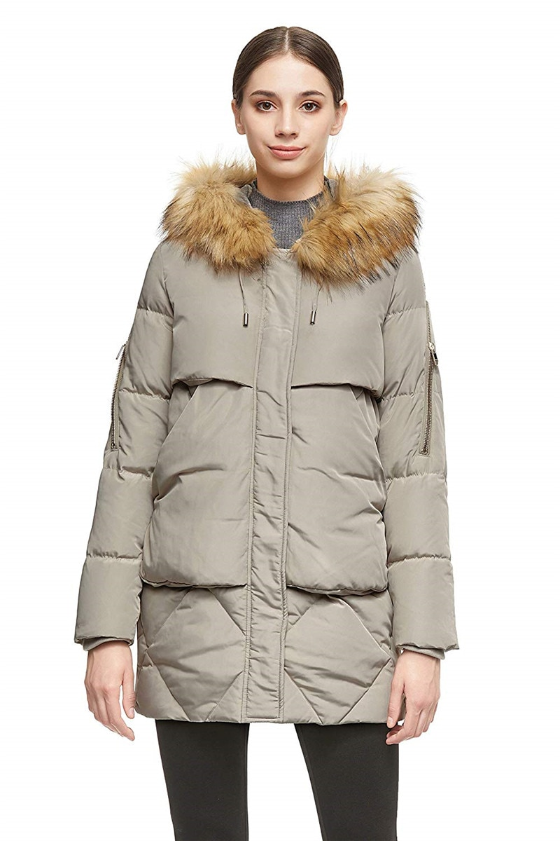 Women Thickened Mid-Long Down Jacket with Removable Fur Hood Large Pockets 1
