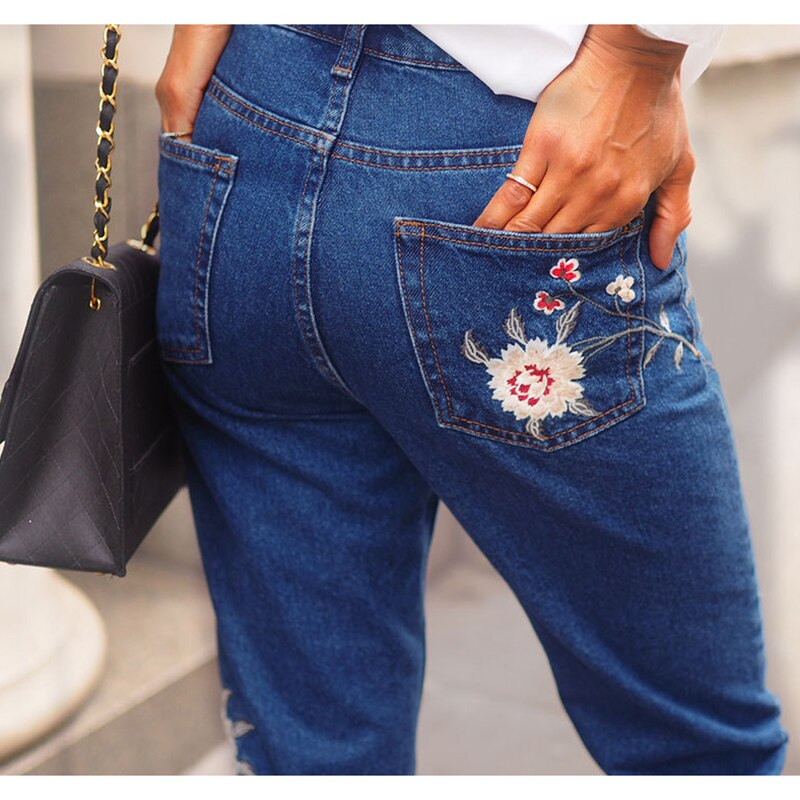 Hot Fashion Jeans Women's Clothing Straight Denim Jeans Pants 3D Floral Embroidery Pants High Waist Ladies Loose Jeans Trousers 4