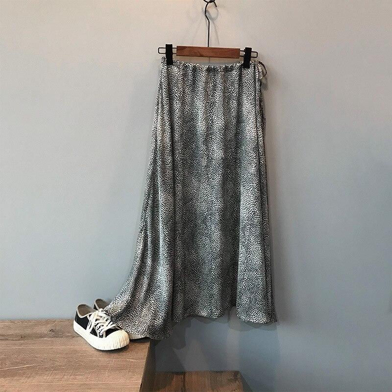Mooirue Summer 2019 Femme Jupe Retro Gray Leopard Satin Thin High A-line Fit Women Long Skirts 3