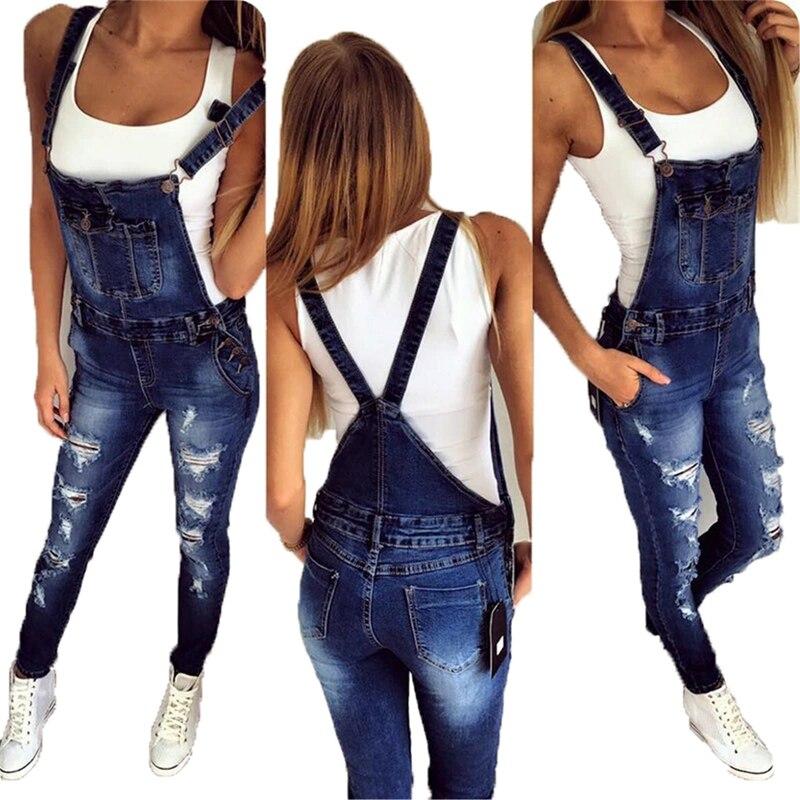 casual Denim Jumpsuit summer Ladies Long Pants rompers women jumpsuit Overalls ripped jeans Strappy Off Shoulder boyfriend jeans 1