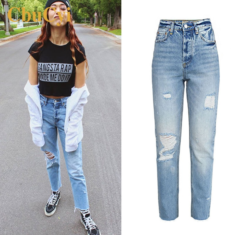 Women High Waist Jeans Pants Blue Soft Cotton Denim Pants Trousers Women Washed Ripped Hole Beggar Straight Jeans Cropped Pants 2