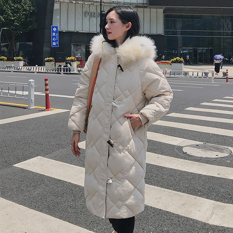 X-long Horn Button Women's Jacket Plus Size Solid Parkas Female Winter Hooded Loose Thick Cotton Padded Casual Outwear Coats