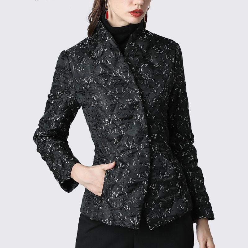 Women' Down Jacket Elegant Floral Printed Black Slim Short Duck Down Coats Warm Thicken Lightly 2019 Winter Puffer Down Jackets 4