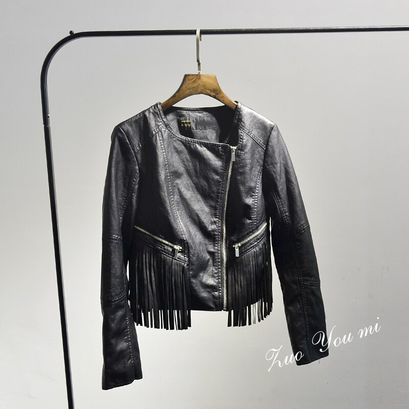 Solid Coats Offer Tassel Full Women Jacket New 2020 Spring and Autumn Pu Leather Black Long Sleeve Zipper Jacket