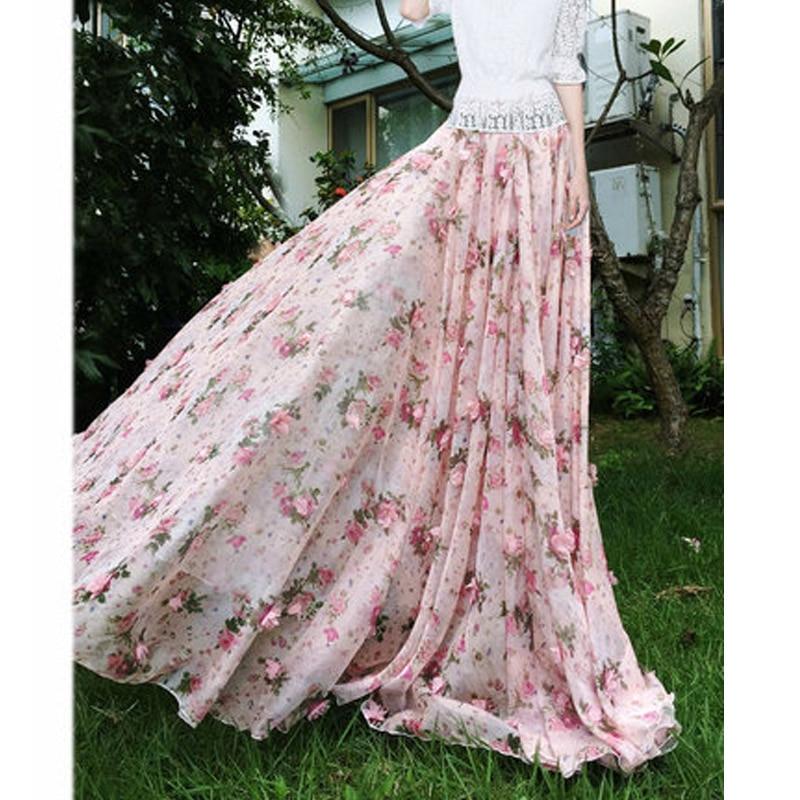 2020 Summer Woman New Large Plus Size 6XL 7XL 8XL Female Fashion Pink Chiffon Lace Polka Dot Floral Long Female skirt for Womens 2