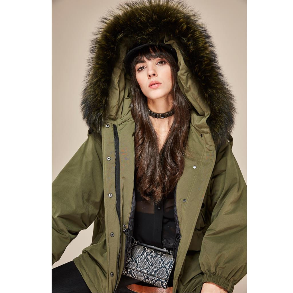 JAZZEVAR 2019 New winter Women down jacket oversize Dovetail 90% white duck down coat large real raccoon fur Hooded Parka 4