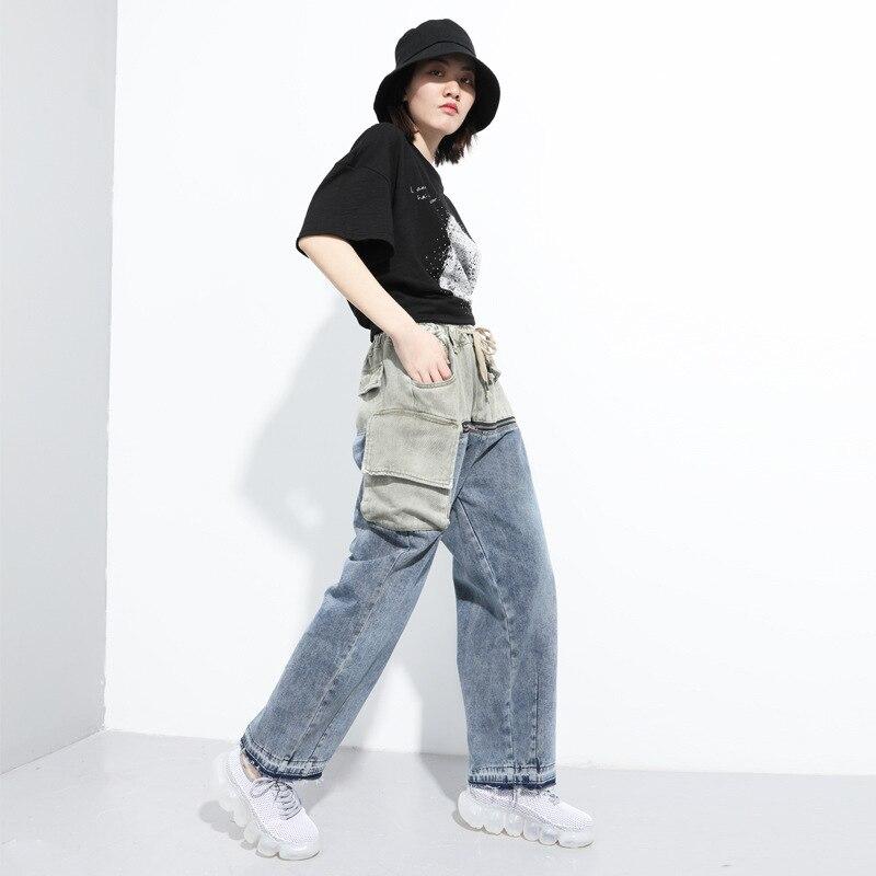 Ladies Casual Jeans Femme Straight Pants 2020 New Arrivals Zipper Jeans Woman Elastic Waist Push Up Ripped Denim Trousers Z2 1