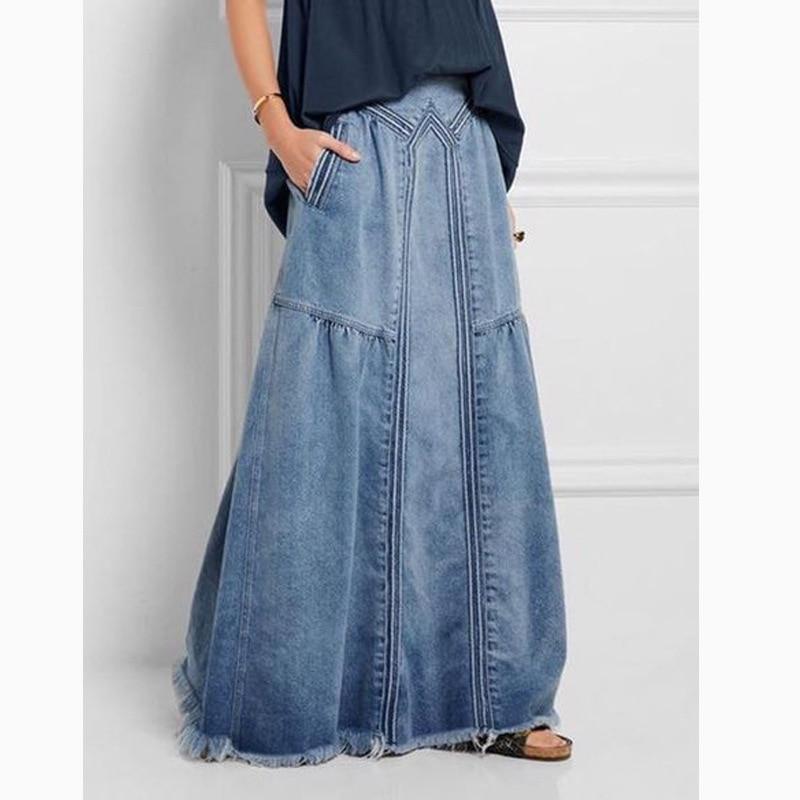 KALENMOS Denim Jeans Women Long Skirt Stretch Vintage Loose Slim Fit Blue Club Streetwear Chic Sexy Harajuku Skirts Plus Size 1