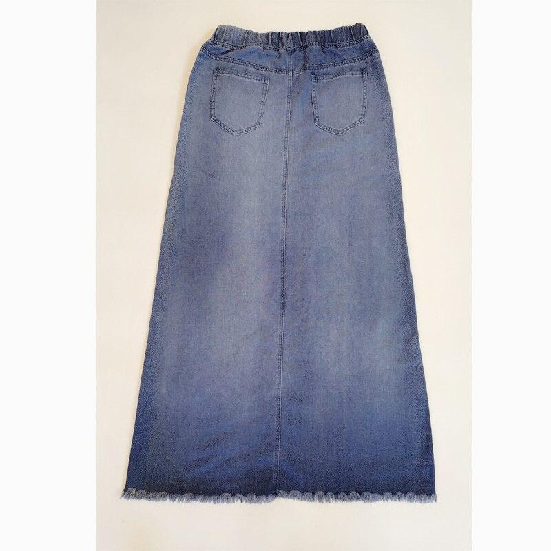KALENMOS Denim Jeans Women Long Skirt Stretch Vintage Loose Slim Fit Blue Club Streetwear Chic Sexy Harajuku Skirts Plus Size 4
