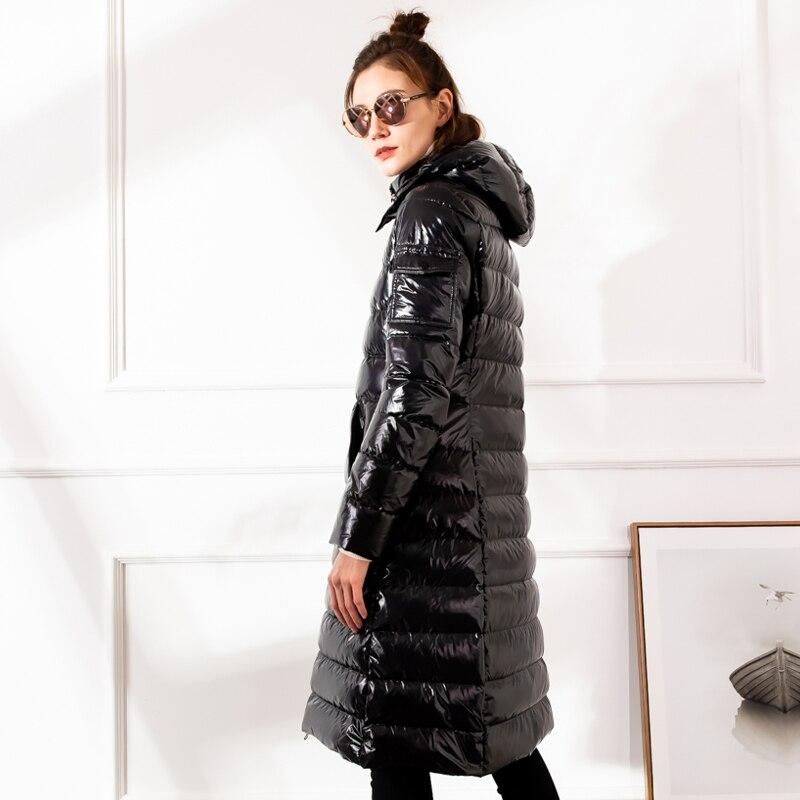 2019 Winter Large size Women down jacket Hooded Loose thick warm Female down coat Zip High quality Overcoat Elegant YNZZU 9O050 2