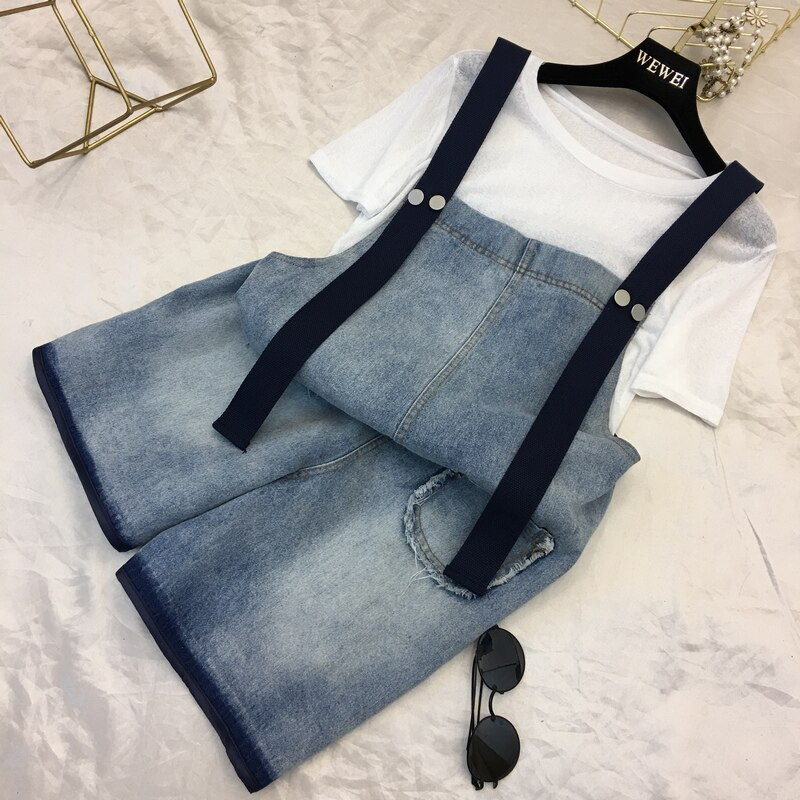 2019 New Women Denim Shorts Overalls Fashion Female Casual Loose Slim Pockets Straps Jeans High Waist Large Size 4XL 5XL M66 1