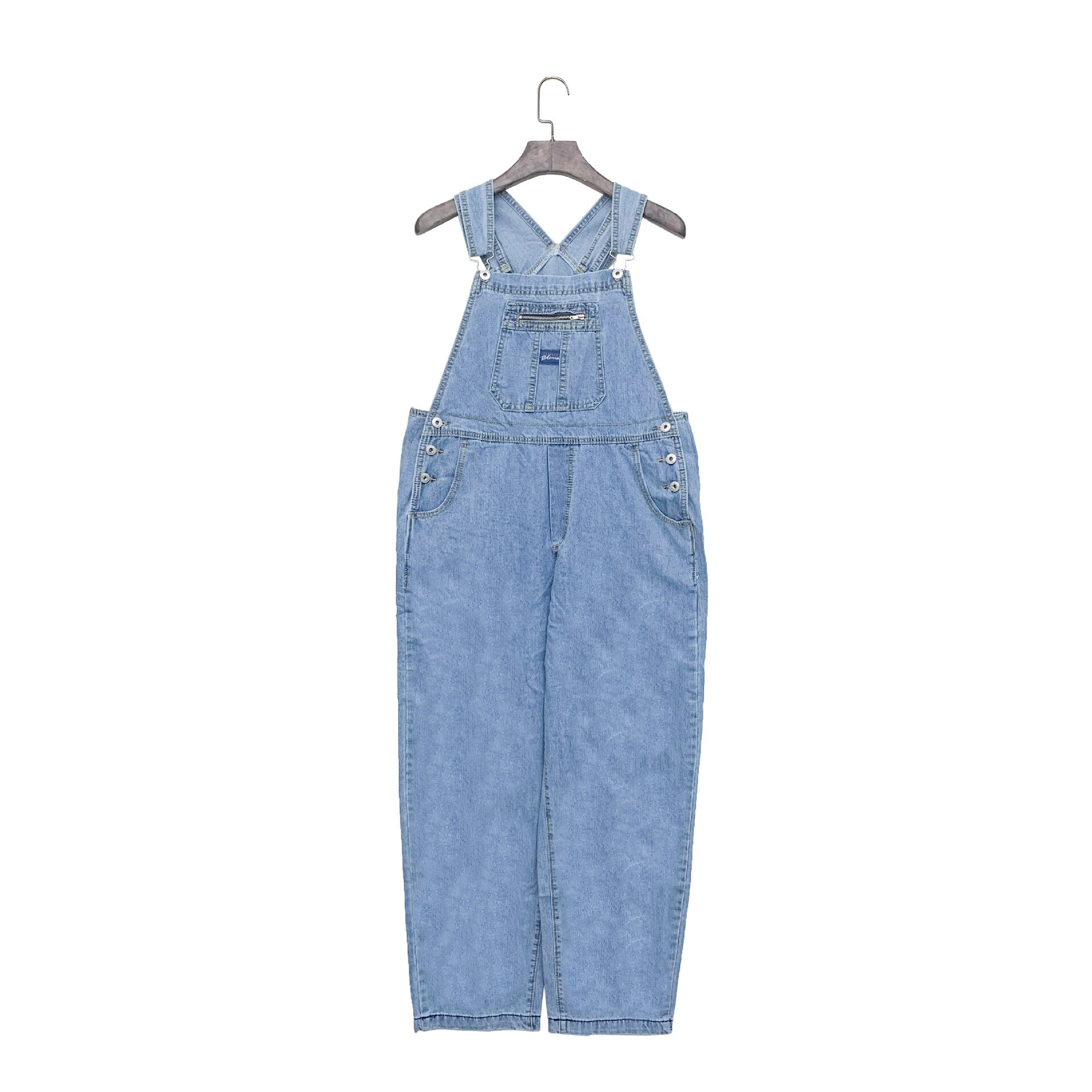Korean Ladies Blue Loose Denim Overalls Jumpsuit Women Loose Spaghetti Strap Jeans Romper Retro Pocket Casual Female Denim Pants 2