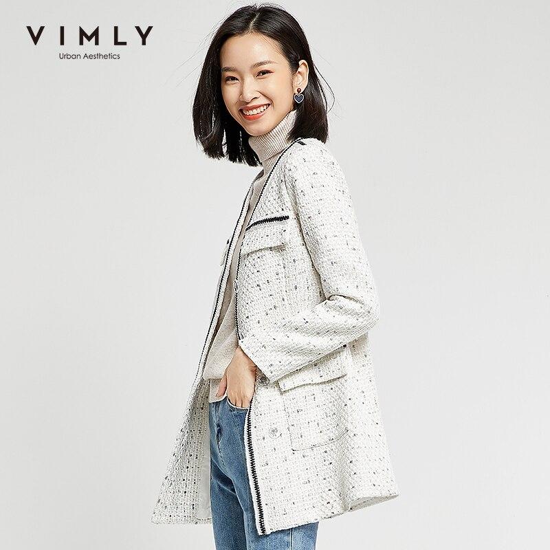 Vimly Women Jacket Elegant Office Lady Single Breasted Patchwork Pockets Long Coat Spring Autumn Vintage Female Overcoat 98665 4