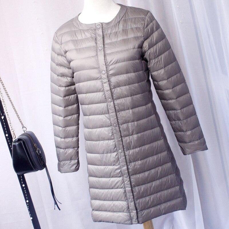 New 2020 Women Down Jacket Ultra Light White Duck Down Long Coat Slim O-Neck Warm Inner Bottoming Garment 4