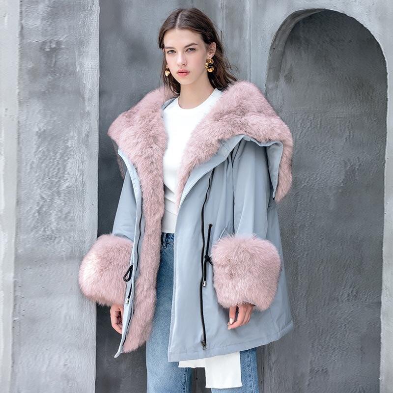 Big Real Raccoon Fox Fur Collar hooded Women Down Jacket 90% White Duck Down Coat Outwear Winter Women's Parka Female Plus Size 1