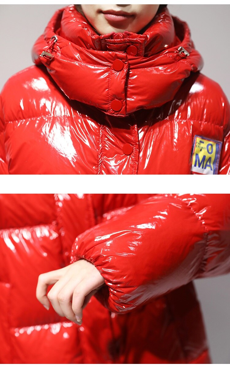 High Quality Glossy Down Parkas Coat Winter Jacket Womens Warm Hooded Down Jacket Red/Black Glossy Winter White Duck Down Coats 4