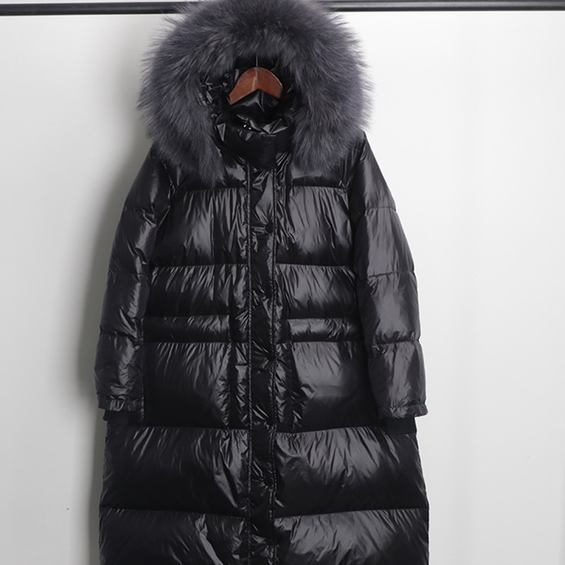 FTLZZ Large Real Natural Raccoon Fur Winter Women Down Jacket Long Thick Warm Coat White Duck Down Jacket Female Oversize 4