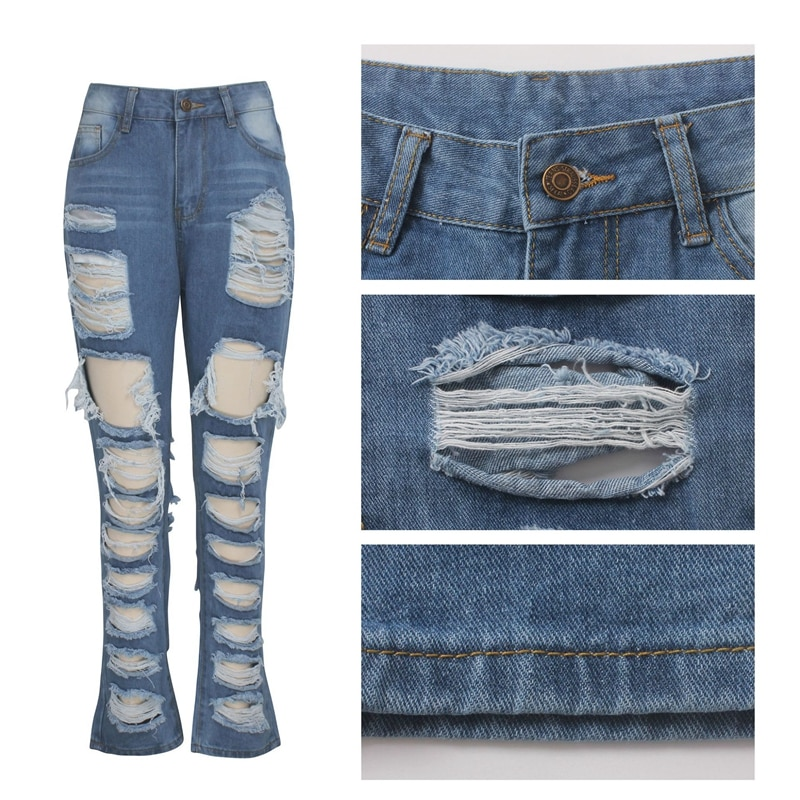 Fashion Ripped Jeans For Women Denim Straight Pants Trousers Mid Waist Casual Skinny Jeans Torn Jeggings boyfriend jeans 2020 4