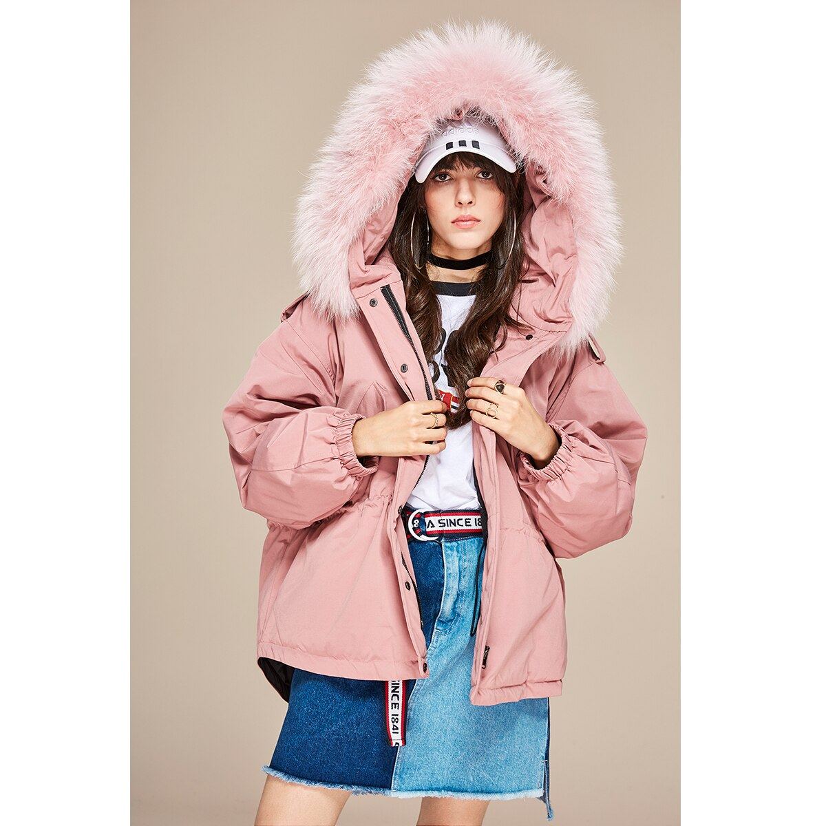 JAZZEVAR 2019 New winter Women down jacket oversize Dovetail 90% white duck down coat large real raccoon fur Hooded Parka 2