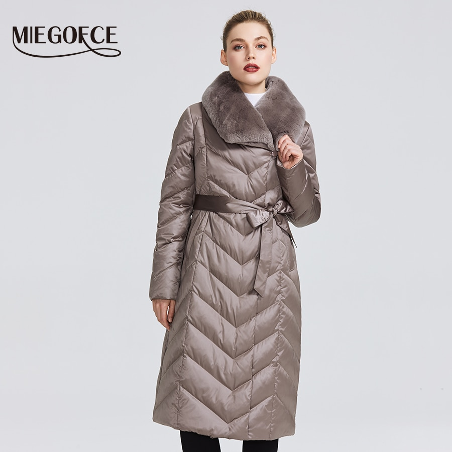MIEGOFCE 2020 New Collection Women's Jacket With Rabbit Collar Women Winter Coat Unusual Colors That a Windproof Winter Parka