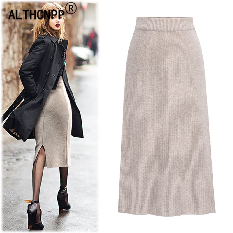 Plus Size M-6XL Winter Knitted Bodycon Pencil Skirt High Waist Skirts Womens Streetwear Split Long Skirt Female Faldas Mujer 2