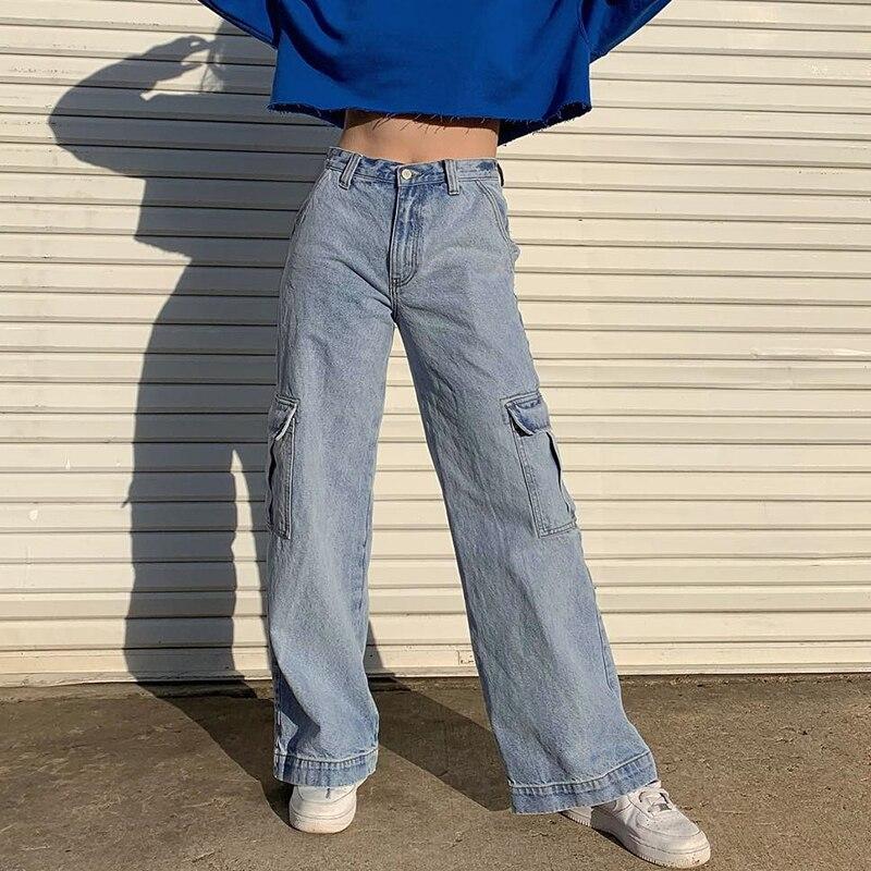 Vangull Pockets Patchwork High Waist Jeans Women Streetwear Straight Casual Jean Femme Blue Cotton Full Length Cargo Pants 2