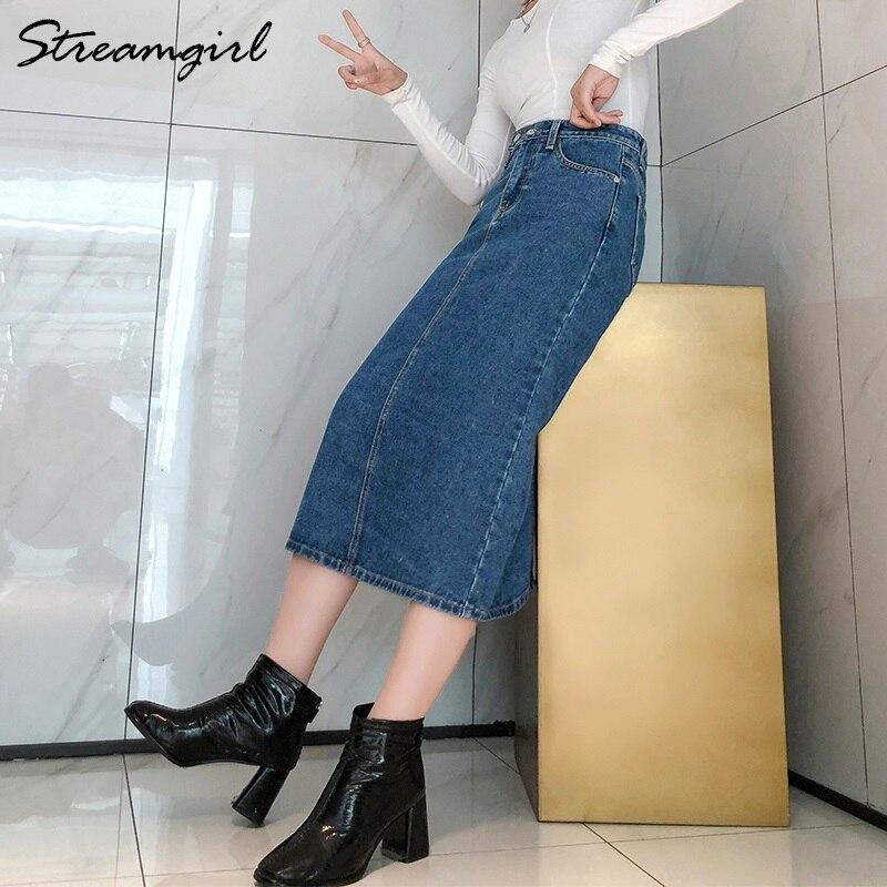 Women Skirt Denim Long Slim Jeans 2019 Autumn Vintage Skirts For Women Long Skirts Jeans Woman Maxi Plus Size Skirt High Waist 2
