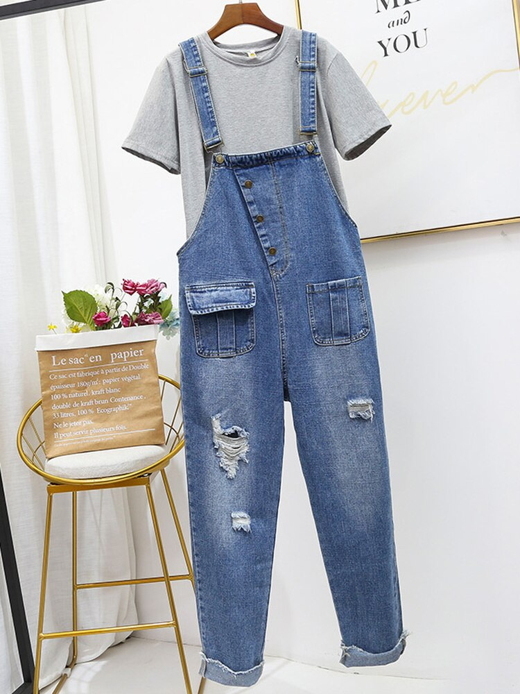 Oversized Hole Ripped Jeans Jumpsuits Women Baggy Suspenders Overalls for Women High-waisted Cotton Denim Jeans Jumpsuits 5XL 1